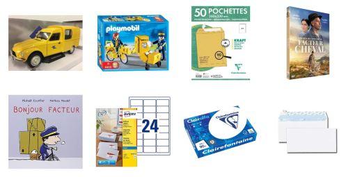 Sélection de produits (enveloppes, lettres, jouets, livres, DVD...)